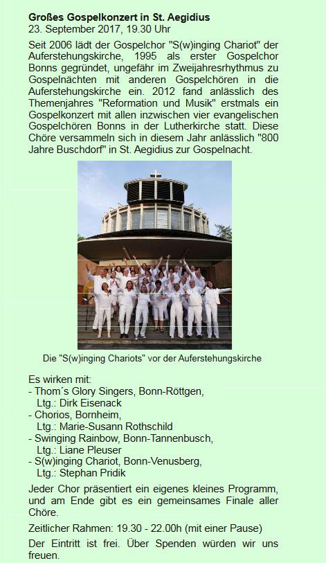 Gospelnacht der ev. Gospelchöre - Bonn