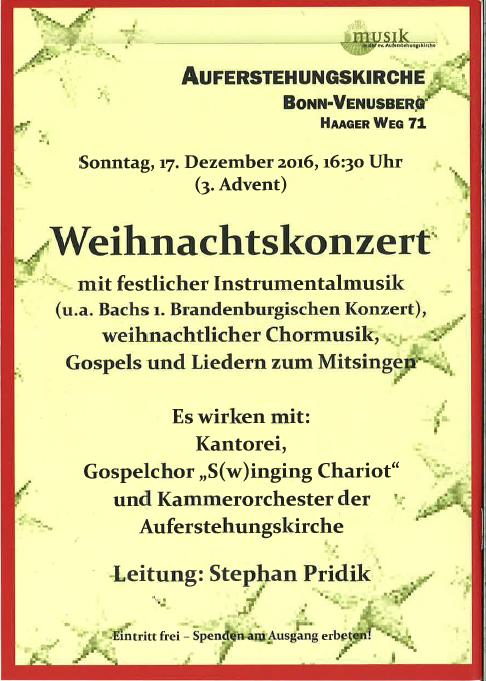 Weihnachtskonzert auf dem Venusberg